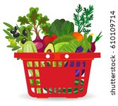 healthy vegetables and... | Shutterstock . vector #610109714
