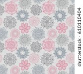 seamless pattern with hand... | Shutterstock .eps vector #610110404