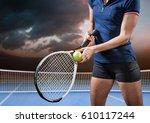 digital composite of tennis... | Shutterstock . vector #610117244