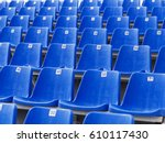 dark blue rows of seats on the... | Shutterstock . vector #610117430