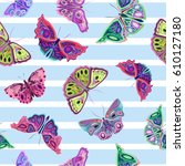 colorful seamless pattern ... | Shutterstock .eps vector #610127180