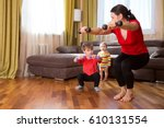 exercising together. happy... | Shutterstock . vector #610131554