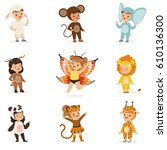 kinds in animal costume... | Shutterstock .eps vector #610136300