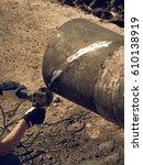 worker underground with hand... | Shutterstock . vector #610138919