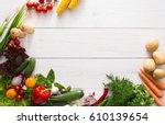 Fresh Vegetables On White Wood...