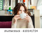 drinks and people concept  ... | Shutterstock . vector #610141724