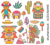 vector cartoon funny mexican... | Shutterstock .eps vector #610146440