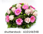 funeral flower arrangement... | Shutterstock . vector #610146548
