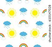 cute cartoon kawaii sun  cloud... | Shutterstock .eps vector #610147028