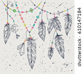 vector grunge illustration with ... | Shutterstock .eps vector #610147184