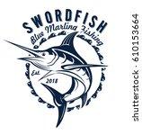 blue marlin fishing logo... | Shutterstock .eps vector #610153664