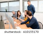 group of five young people...   Shutterstock . vector #610155170