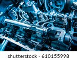 the powerful engine of a car.... | Shutterstock . vector #610155998