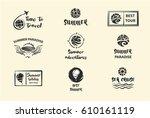 set of nine vector sketch black ... | Shutterstock .eps vector #610161119