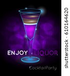purple layered exotic cocktail... | Shutterstock .eps vector #610164620