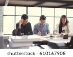 asian groups are brainstorming  ... | Shutterstock . vector #610167908