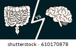 gut vs brain concept. stock... | Shutterstock .eps vector #610170878