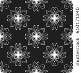 floral vector black and white... | Shutterstock .eps vector #610171340