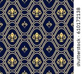 seamless vector navy blue and... | Shutterstock .eps vector #610172138