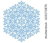round vector blue snowflake.... | Shutterstock .eps vector #610172870