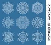 set of vector white snowflakes. ... | Shutterstock .eps vector #610173140