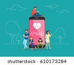 health care mobile app concept... | Shutterstock . vector #610173284