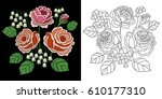 embroidery floral bouquet... | Shutterstock .eps vector #610177310