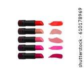 lipstick set on white... | Shutterstock .eps vector #610178969