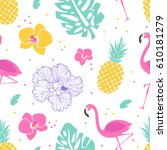 bright tropical pattern with... | Shutterstock .eps vector #610181279