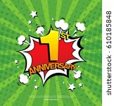 1st anniversary emblem. one... | Shutterstock .eps vector #610185848