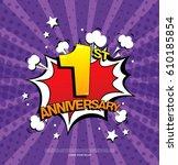 1st anniversary emblem. one... | Shutterstock .eps vector #610185854