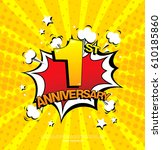 1st anniversary emblem. one... | Shutterstock .eps vector #610185860