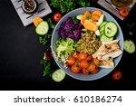 healthy salad with chicken ... | Shutterstock . vector #610186274