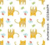 cute tiger with birds. vector... | Shutterstock .eps vector #610186694