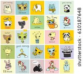 big set of vector kid's cards... | Shutterstock .eps vector #610187648