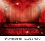 open red curtains with seats... | Shutterstock .eps vector #610187690