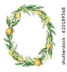 watercolor oval frame fruit...   Shutterstock . vector #610189568