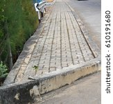Small photo of Paved street,side way,path way,walk way with cement block
