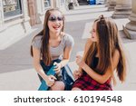 two beautiful girl with long... | Shutterstock . vector #610194548