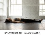 young attractive yogi woman... | Shutterstock . vector #610196354