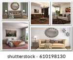 collage of modern home brown... | Shutterstock . vector #610198130