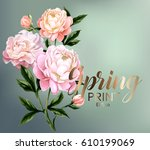 card with peonies and green... | Shutterstock .eps vector #610199069