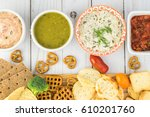 top view of cutting board with...   Shutterstock . vector #610201760