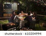 dinner party  barbecue and... | Shutterstock . vector #610204994