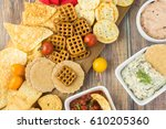 top view of cutting board with... | Shutterstock . vector #610205360