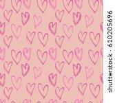 abstract seamless heart pattern.... | Shutterstock .eps vector #610205696