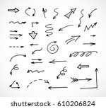hand drawn arrows  vector set | Shutterstock .eps vector #610206824