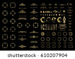 circle and square wicker... | Shutterstock .eps vector #610207904