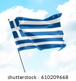 flag of greece raised up in the ... | Shutterstock . vector #610209668