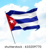 flag of cuba raised up in the... | Shutterstock . vector #610209770